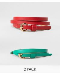 ASOS - 2 Pack Waist And Hip Belts In Red And Green - Lyst