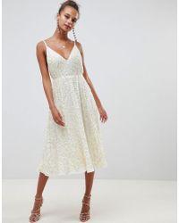 ASOS - Delicate Sequin Midi Plunge Dress With Full Skirt - Lyst