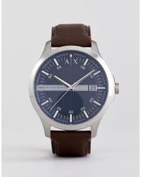 Armani Exchange - Ax2133 Leather Watch In Brown - Lyst