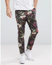 ASOS - Super Skinny Trousers In Bright Floral Leaf Print - Lyst