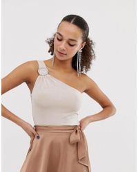 Miss Selfridge - Body With One Shoulder In Gold - Lyst