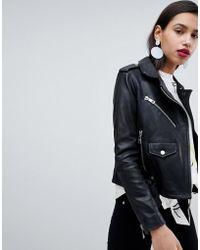 Whistles - Belted Agnes Leather Biker Jacket - Lyst