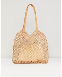 Warehouse - Knitted Straw Bag With Removable Pouch - Lyst