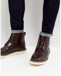 ASOS - Brogue Boots In Brown Leather With Contrast Sole - Lyst