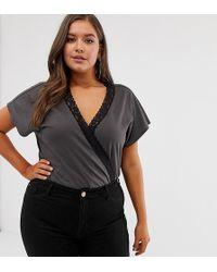 970c52e06d029 ASOS - Asos Design Curve T-shirt Wrap Body With Lace Trim - Lyst