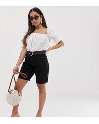 Missguided Exclusive Longline Denim Shorts In Black