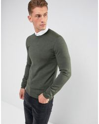 ASOS - Asos Muscle Fit Merino Wool Jumper In Khaki - Lyst