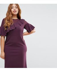 ASOS - Wiggle Dress With Woven Sheer Panel And Frill Detail - Lyst