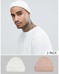 75a5f8c560c ASOS - 2 Pack Mini Fisherman Beanie In White   Pink Recycled Polyester Save  - Lyst