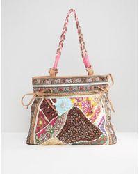 Raga - Mid Sized Pitch Bag With Braided Handles - Lyst