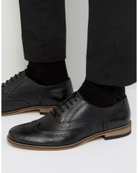 Dune - Braker Brogues In Black Leather - Lyst