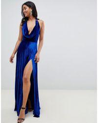 ASOS - Pleated Velvet Cowl Neck Maxi Dress - Lyst