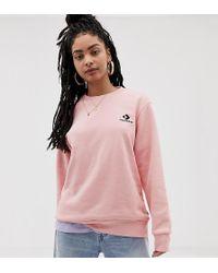 Converse - Oversized Star Chevron Embroidered Crew Neck Sweatshirt - Lyst