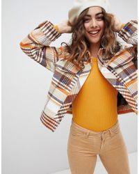 Monki - Trucker Jacket In Brown Check Print - Lyst