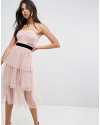 ASOS - Asos Bardot Dobby Tiered Mesh Midi Prom Dress - Lyst