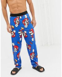 ASOS - Straight Leg Pyjama Bottoms In Super Mario Design - Lyst