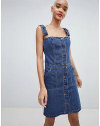 Liquor N Poker - Denim Button Through Mini Dress - Lyst