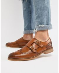 ASOS - Design Monk Shoes In Tan Leather With Natural Sole - Lyst