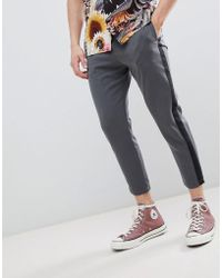 Pull&Bear - Trousers With Side Stripe In Grey - Lyst
