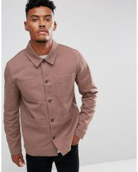 ASOS DESIGN - Worker Jacket In Washed Pink - Lyst