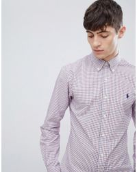 Polo Ralph Lauren - Slim Fit Small Check Shirt Player Logo Button-down In White/red/navy - Lyst
