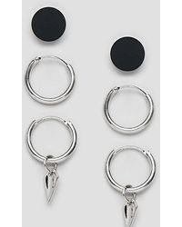 Bershka - Earring 3-pack In Silver - Lyst
