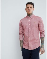 Farah - Steen Slim Fit Textured Oxford Shirt In Red - Lyst