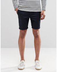 ASOS - Asos Super Skinny Chino Shorts In Navy - Lyst