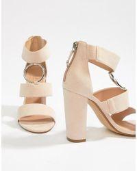 0e2371801e47 Office - Habibi Black Suede Three Strap Chunky Block Heeled Sandals - Lyst