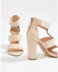 Office - Habibi Suede Three Strap Chunky Heeled Sandals - Lyst