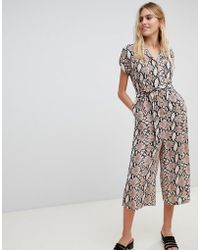 New Look - Collared Jumpsuit In Snake Print - Lyst