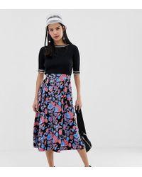 c8a156f488 Monki - Midi Skirt In Rose Print - Lyst