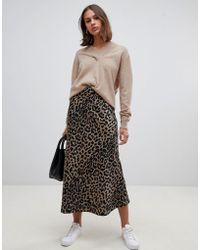 ASOS - Bias Cut Satin Midi Skirt In Leopard Print - Lyst