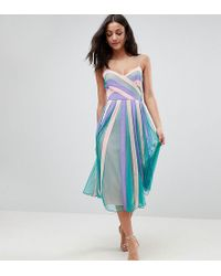 ASOS - Colourblock Mesh Fit And Flare Midi Dress - Lyst