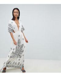 ASOS - Asos Design Tall Bandana Print Kimono Plunge Maxi Beach Dress - Lyst