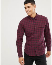 Esprit - Slim Fit Checked Shirt In Red - Lyst
