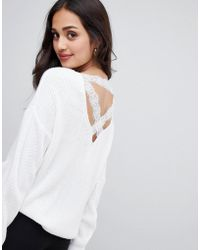 Miss Selfridge - Jumper With Lace Cross Back In Cream - Lyst