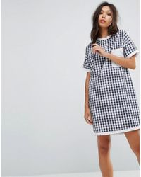Uncivilised - Mix Check Tee Dress - Lyst