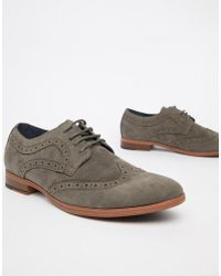 New Look - Faux Suede Brogue In Gray - Lyst
