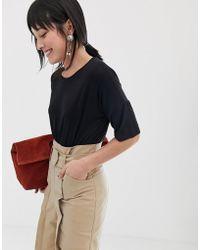 Mango - 3/4 Length Oversized T Shirt In Black - Lyst