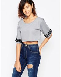 Good Vibes, Bad Daze - Good Vibes Bad Daze Crop Top With Sleeve Detail - Lyst