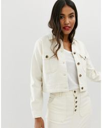 ASOS - Denim Premium Utility Jacket In Off-white - Lyst