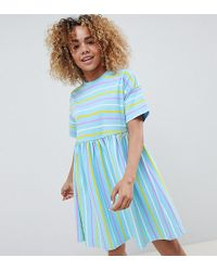 b3dbf8ba29 ASOS - Asos Design Petite Smock Dress In Cut About Stripe - Lyst