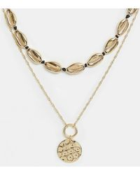 River Island - Layered Necklace With Shell Detail In Gold - Lyst