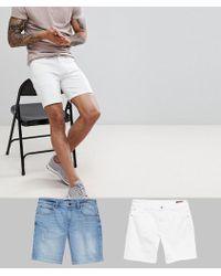 b093f2bd2b7 ASOS - Denim Shorts In Skinny White & Light Wash With Abrasions - Lyst