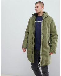 G-Star RAW - Parka con capucha y borro de borreguito en verde - Lyst