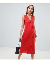 Mango - Vestido midi de lino rojo con detalle de botones - Lyst