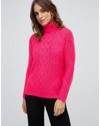 Oasis - Cable Knit Jumper In Bright Pink - Lyst