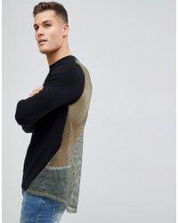 ASOS DESIGN - Muscle Longline Sweatshirt In Black With Mesh Back - Lyst