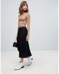 Stradivarius - Plain Solid Black Midi Skirt - Lyst